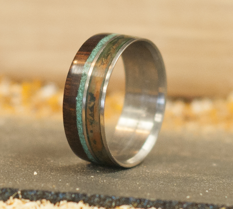 patina copper wood wedding ring w turquoise inlay - Wood Wedding Ring