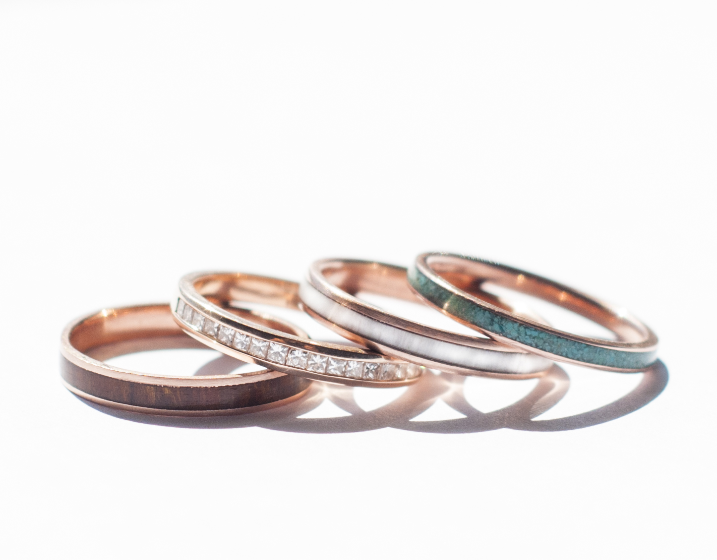 10K ROSE GOLD STACKING WEDDING BANDS available w diamond wood