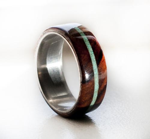 IRONWOOD AND TURQUOISE WEDDING RING SET ON TITANIUM (available in ...