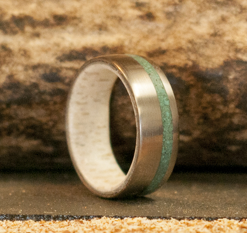 the vertigo silver wedding band with antler lining malachite inlay available in silver black zirconium 14k white rose or yellow gold - Jade Wedding Ring