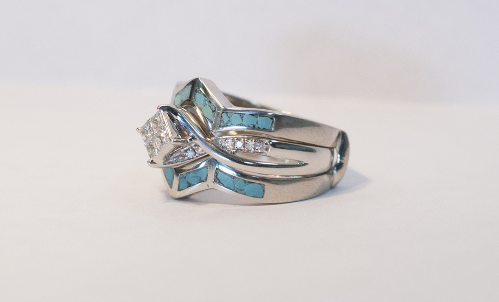 1ct enement ring with turquoise guard in 10k gold - Turquoise Wedding Rings
