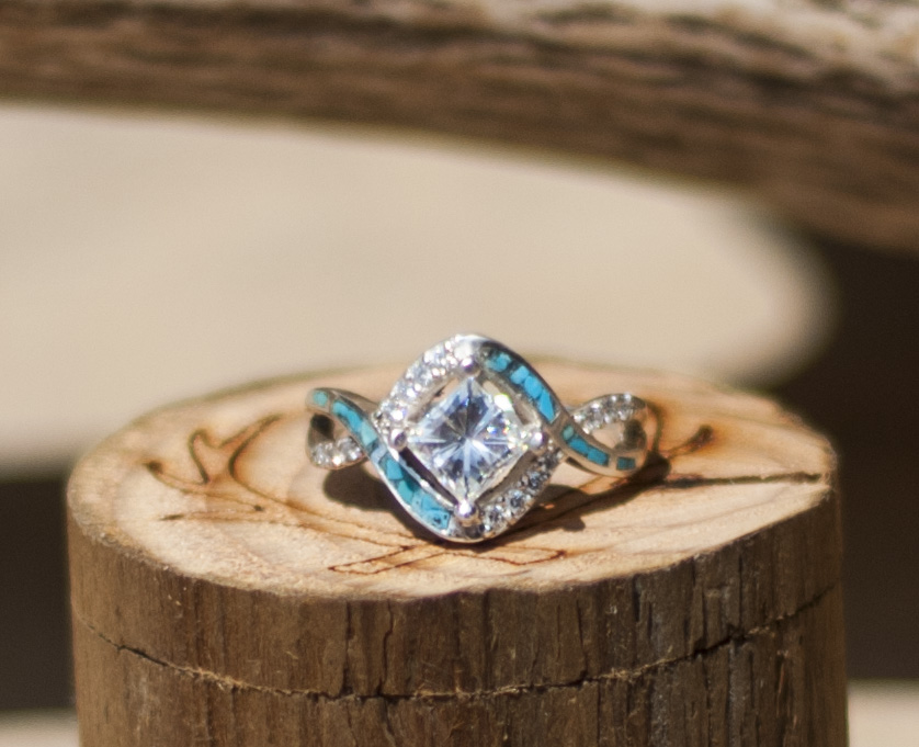 quothelixquot 1ct moissanite engagement ring with turquoise