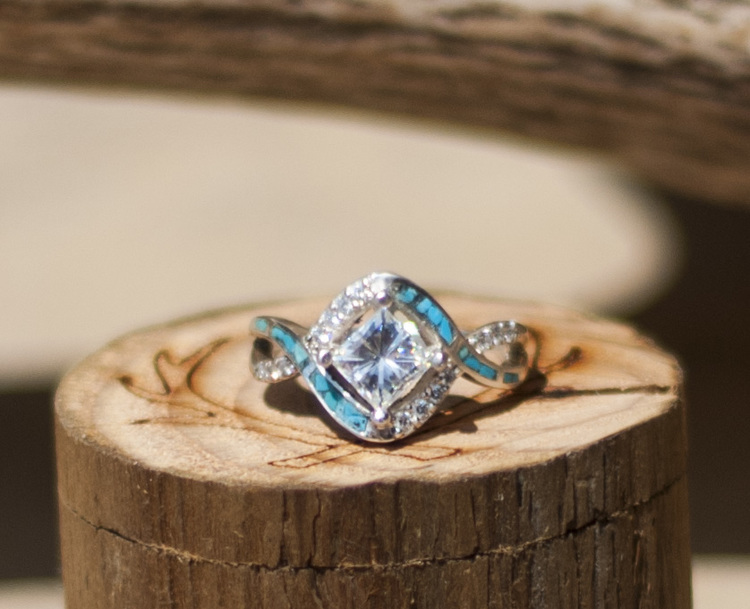 1ct moissanite engagement ring with turquoise inlay available in 14k rose yellow or white gold - Turquoise Wedding Rings