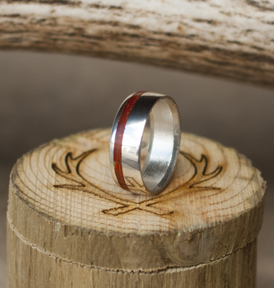 Narrow Offset Bloodwood Wedding Band Titanium Silver Black Zirconium Or Or Gold Staghead