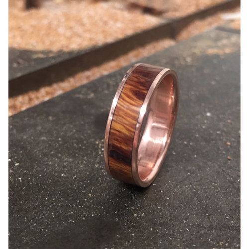 14k rose gold with wood inlay available in 14k yellow rose or white gold - Mens Wooden Wedding Rings