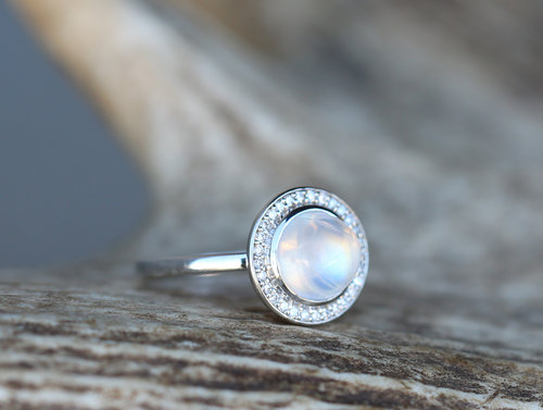 white gold engagement ring with moonstone and diamond halo setting - Moonstone Wedding Ring