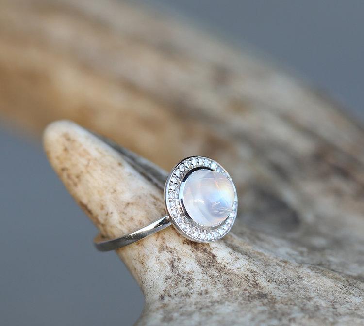 moonstone terra 14k white gold moonstone diamond halo engagement ring available in 14k rose white or yellow gold - Moonstone Wedding Rings
