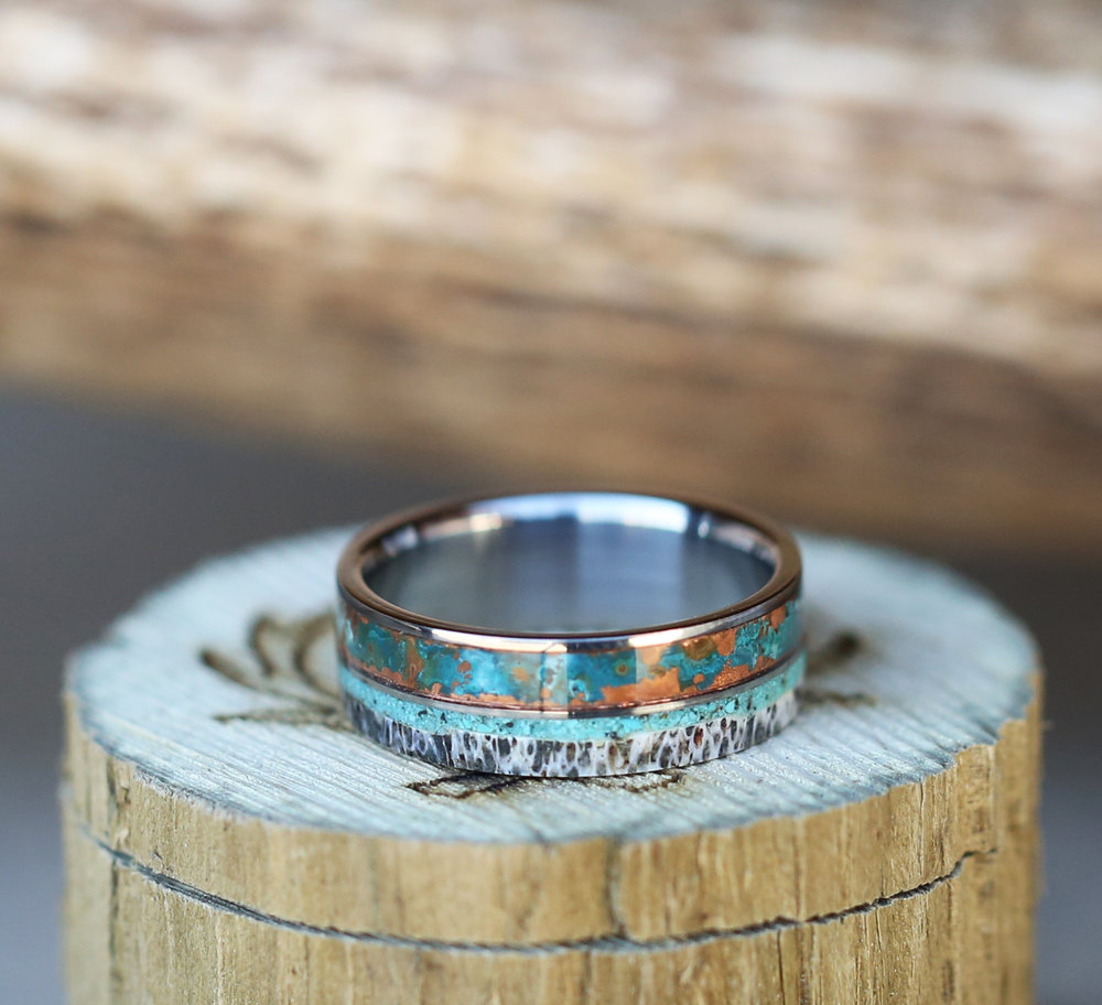 click here to view our patina copper wedding bands - Turquoise Wedding Rings