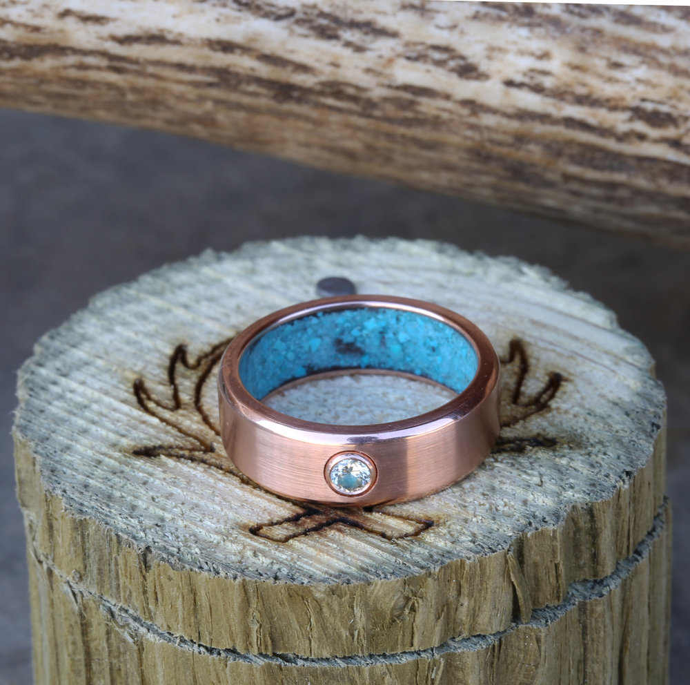 WOMANS DIAMOND WEDDING RING WITH TURQUOISE LINING available in 14K