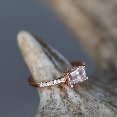womens morganite wedding ring mens antler wedding band available only in 14k rose gold - Morganite Wedding Ring Set