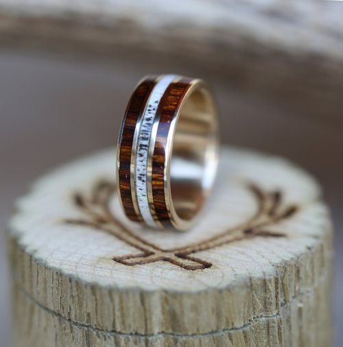 mens wedding band with ironwood and antler inlays handcrafted by staghead designs - Mens Wood Wedding Rings