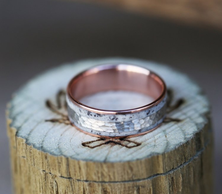 10K ROSE GOLD WEDDING BAND W HAMMERED WHITE ANTLER INLAY Available In 10k Rose White Yellow Gold