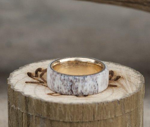 gold lined elk antler wedding ring top view - Antler Wedding Rings