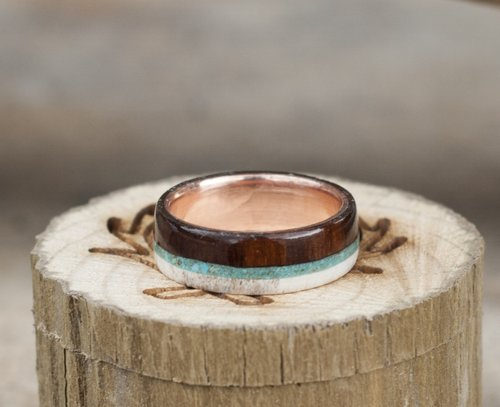 wood gold and antler wedding ring with turquoise inlays line with - Mens Wedding Rings Gold