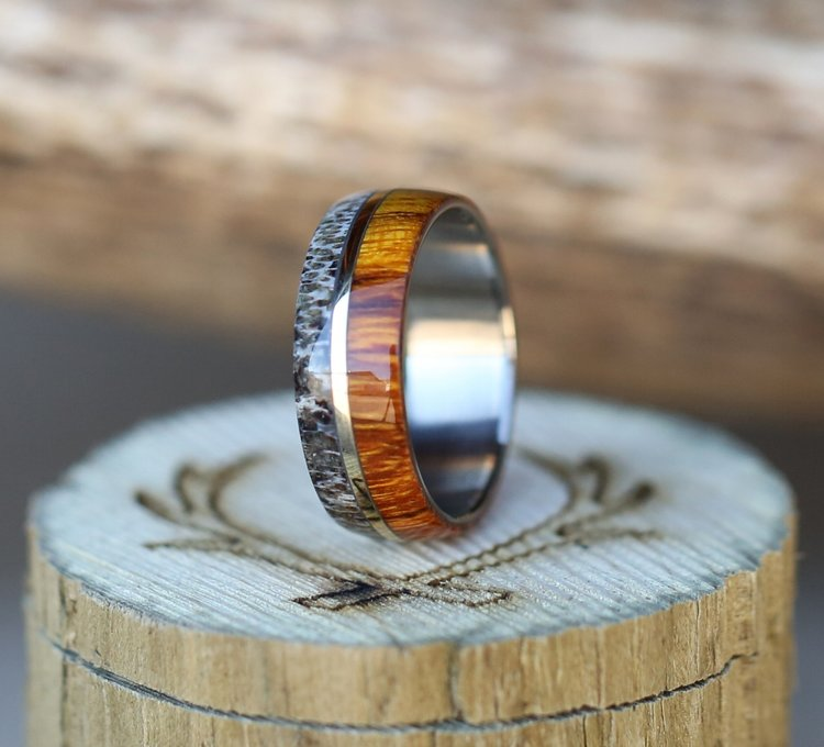 THE  GOLDEN    IRONWOOD  ANTLER   10k WHITE GOLD INLAY WEDDING BANDTHE  GOLDEN    IRONWOOD  ANTLER   10k WHITE GOLD INLAY WEDDING  . Inlay Wedding Bands. Home Design Ideas