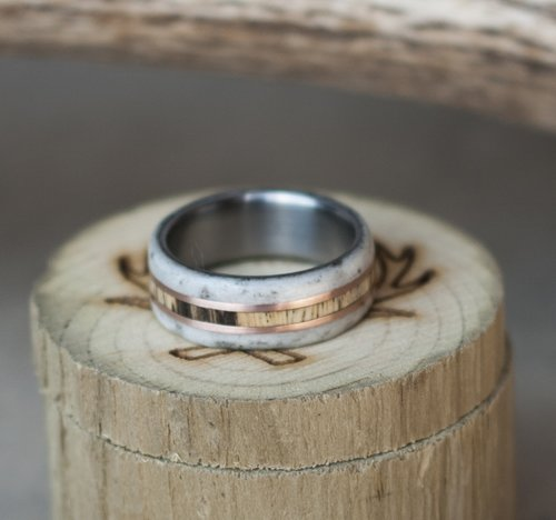 mens spalted maple and antler wedding ring with rose gold inlays - Antler Wedding Rings