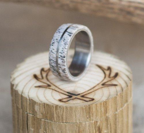 elk antler and hand turned titanium wedding band - Antler Wedding Rings