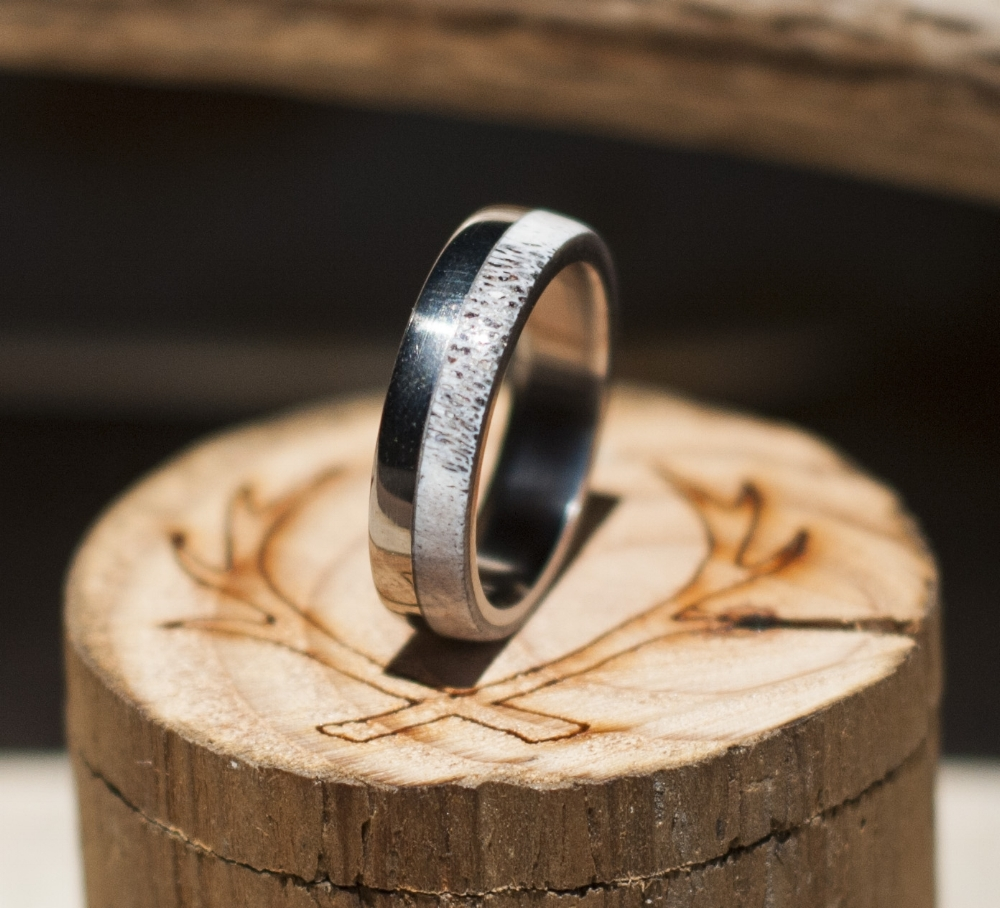 TANNER WEDDING BAND IN ELK ANTLER TITANIUM available in titanium