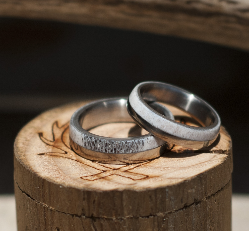 ELK ANTLER WEDDING BAND Available In Titanium Silver Black Zirconium Or 10k Gold STAGHEAD