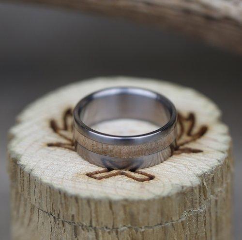 the vertigo narrow offset koa wood wedding band available in titanium silver black zirconium damascus steel 14k white yellow or rose gold - Wooden Wedding Ring