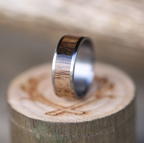 handcrafted koa wood wedding band - Wood Wedding Ring