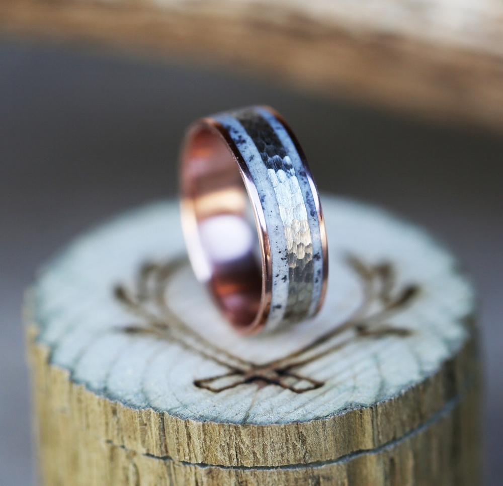 mens rose gold wedding band with hammered white gold and elk antler inlay - Mens Wood Wedding Rings