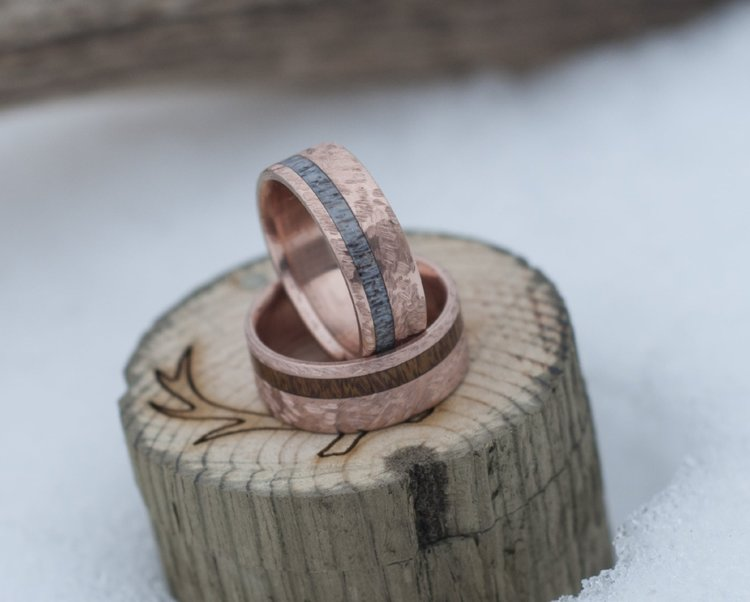 THE  VERTIGO    10K GOLD   WOOD INLAY WEDDING RING W  HAMMERED FINISH   available in 10k rose  yellow    white gold THE  VERTIGO    10K GOLD   WOOD INLAY WEDDING RING W  HAMMERED  . Inlay Wedding Bands. Home Design Ideas