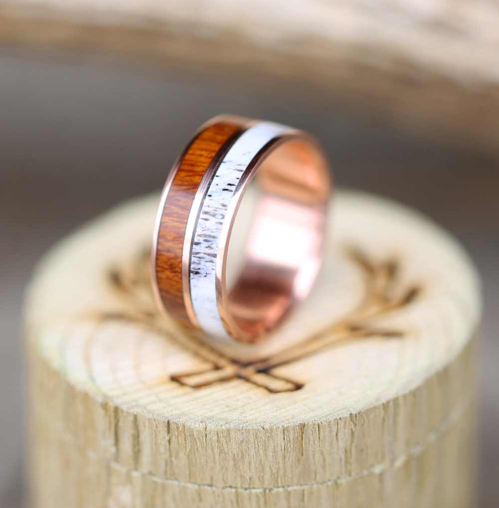 Wood Mens Wedding Bands Canada: 14K ROSE GOLD WEDDING BAND WITH WOOD & ANTLER (available