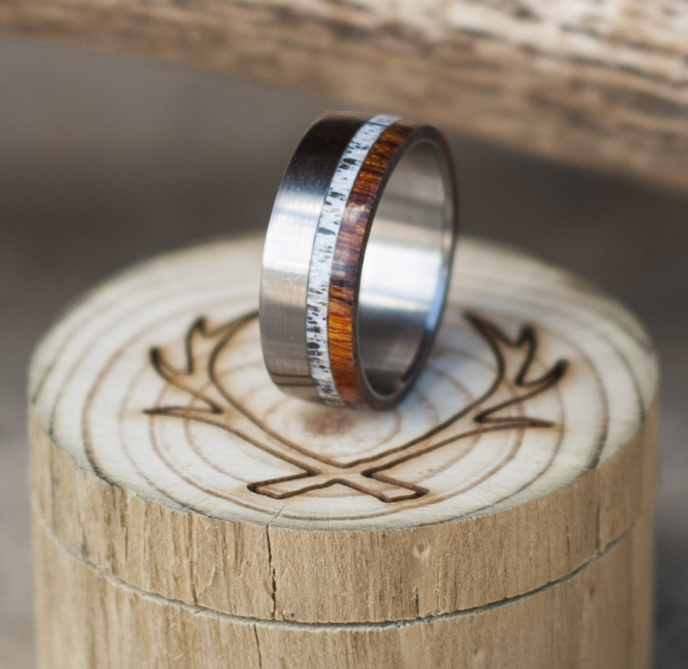 IRONWOOD WEDDING BAND WITH ELK ANTLER INLAY available in titanium