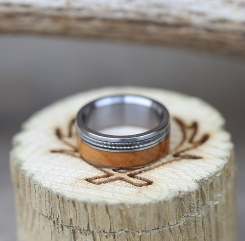 Guitar String Redwood Wedding Band Available In Titanium Silver