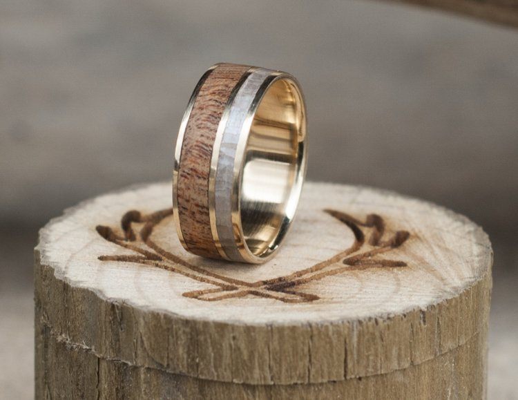 REDWOOD & MOTHER OF PEARL WEDDING BAND WITH 14K YELLOW GOLD BASE ...
