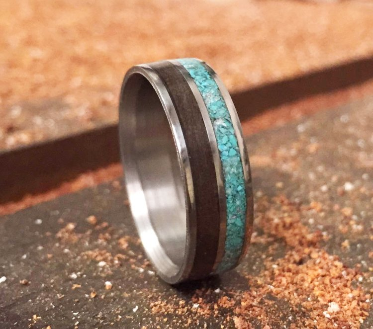 black walnut turquoise wedding band set in titanium silver or 10k gold - Turquoise Wedding Ring