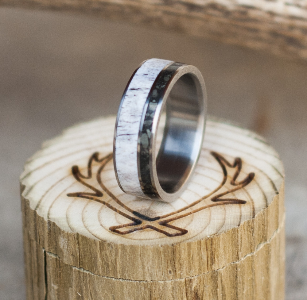 ELK ANTLER IRON ORE WEDDING BAND available in titanium silver