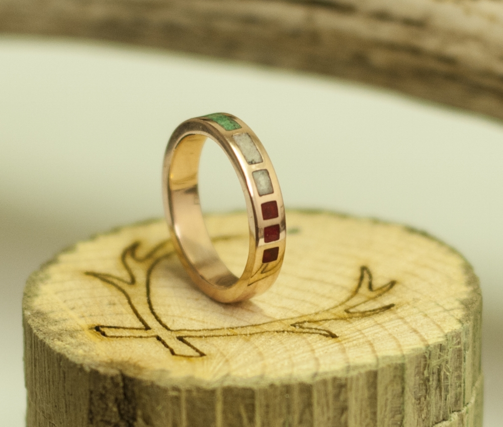 14K GOLD WOMENS MALACHITE ANTLER RED CORAL WEDDING BAND
