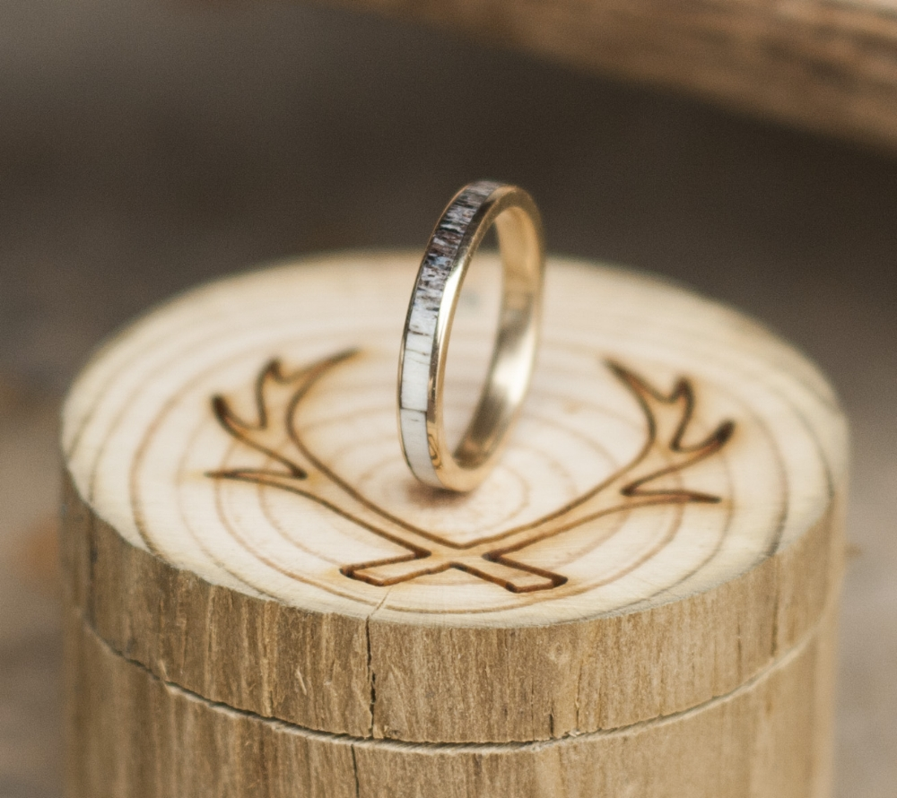 single women in antler Artemis stacker with single diamond - 14k yellow gold twig/antler style stacking band (available in 14k rose, white & yellow gold) 70000 custom soldered rose gold wedding bands featuring turquoise & diamonds (available in 14k rose, yellow, or white gold).
