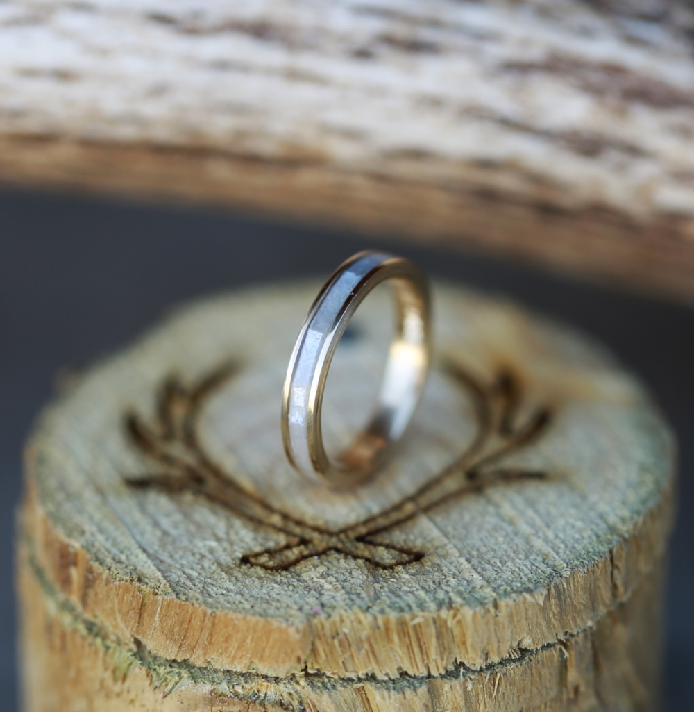 MOTHER OF PEARL 10K YELLOW GOLD STACKING WEDDING BAND available
