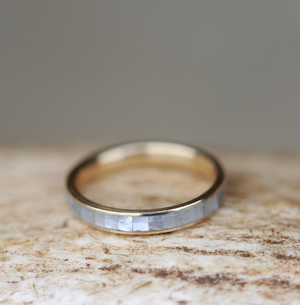 MOTHER OF PEARL 14K YELLOW GOLD STACKING WEDDING BAND available