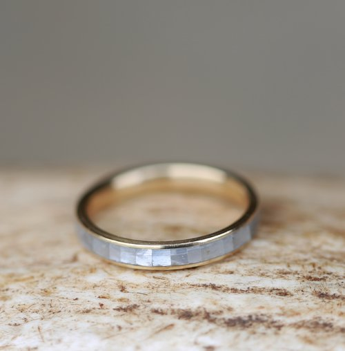 MOTHER OF PEARL & 14K YELLOW GOLD STACKING WEDDING BAND (available ...