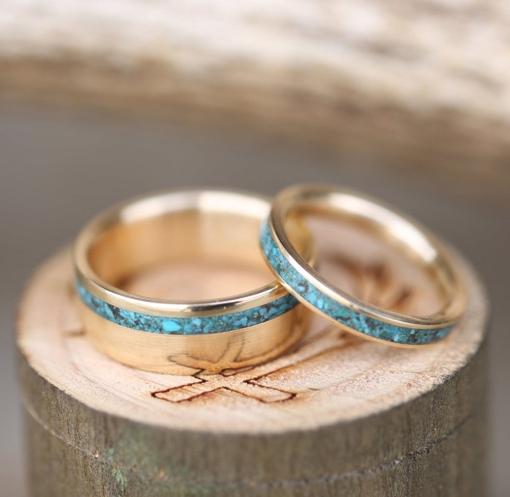 14K ROSE GOLD TURQUOISE WEDDING BAND available in 14K yellow