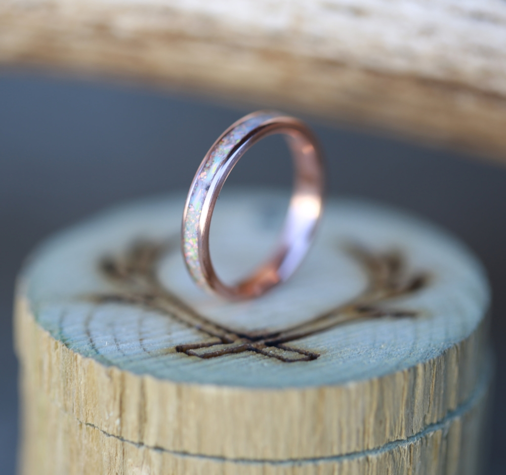 ROSE GOLD STACKING WEDDING BAND FEATURING FIRE ICE OPAL available