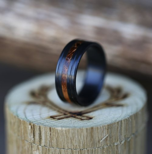 fire treated black zirconium whiskey barrel wedding band