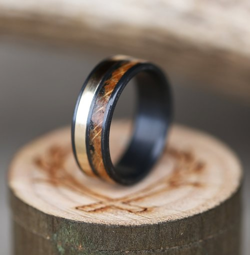 black zirconium whiskey barrel wedding ring w 1ok gold inlay