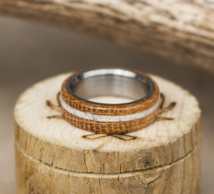 authentic whiskey barrel wood wedding band with elk antler inlay available in titanium silver black zirconium 14k white rose or yellow gold - Wooden Wedding Ring