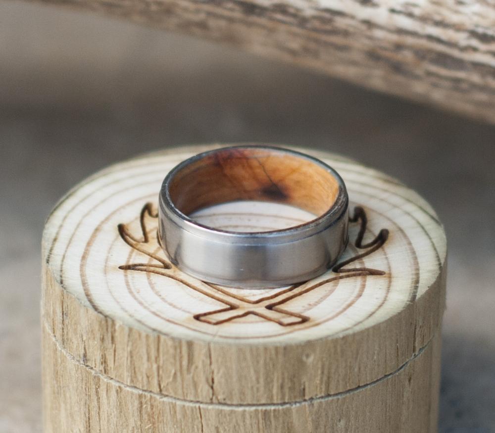 WHISKEY BARREL LINED TITANIUM WEDDING BAND available in titanium