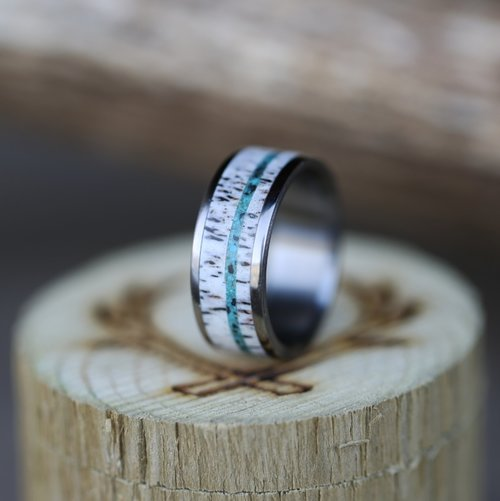 turquoise antler inlays set on a titanium wedding band handcrafted by staghead designs - Turquoise Wedding Rings