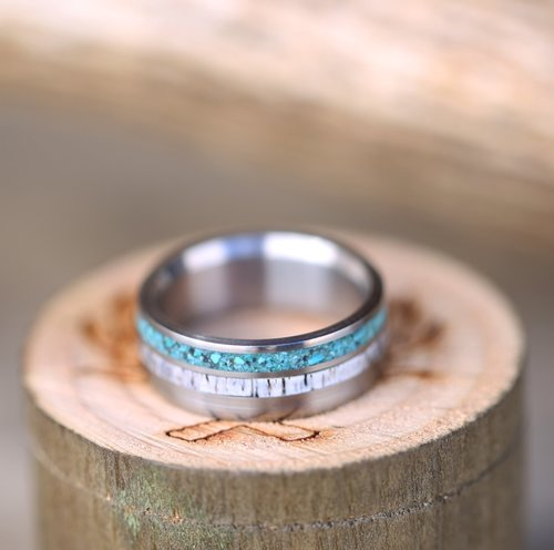 unique mens wedding band handcrafted from turquoise elk - Turquoise Wedding Rings