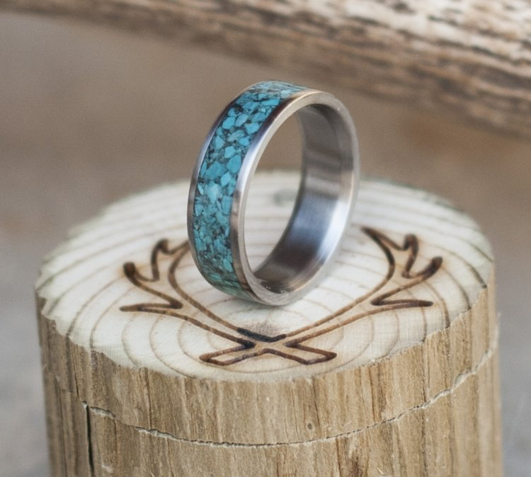 turquoise mens or womens wedding band available in titanium silver or gold - Turquoise Wedding Ring