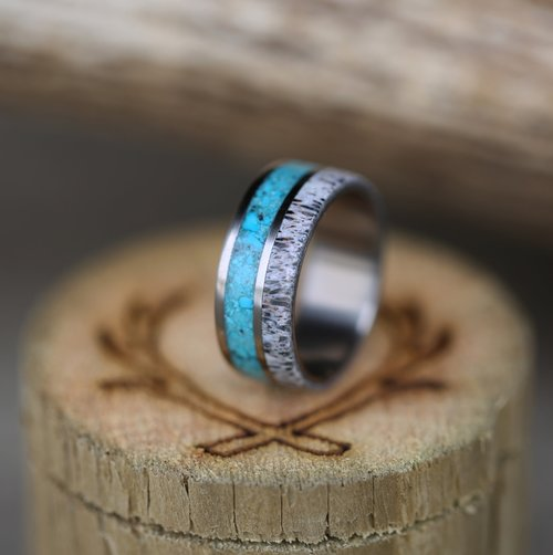 titanium wedding band with antler and turquoise inlays handcrafted by staghead designs - Turquoise Wedding Ring
