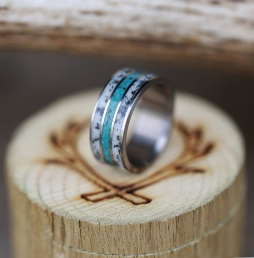 titanium wedding band featuring turquoise antler handcrafted by staghead designs - Turquoise Wedding Ring