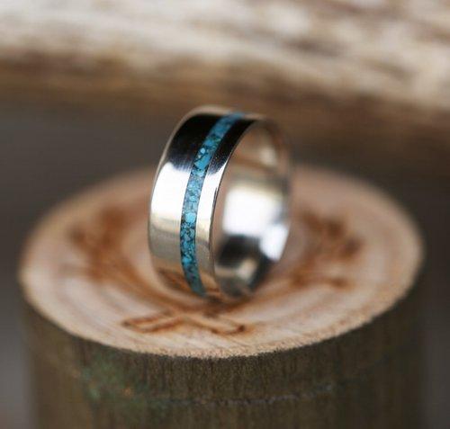 the vertigo white gold and turquoise wedding band titanium silver or gold - Turquoise Wedding Ring